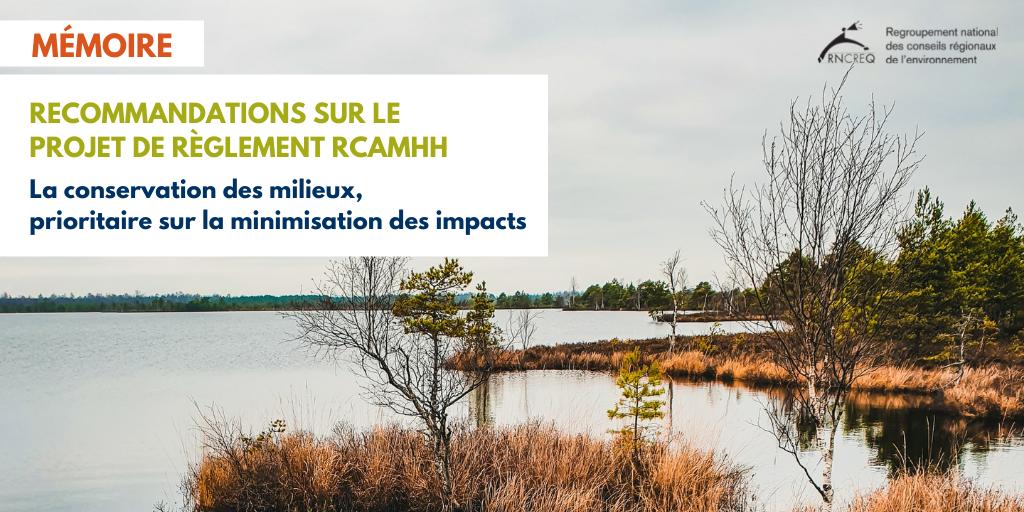 Mémoire : Règlement sur la compensation pour l'atteinte aux milieux humides et hydriques 2021 (RCAMHH)